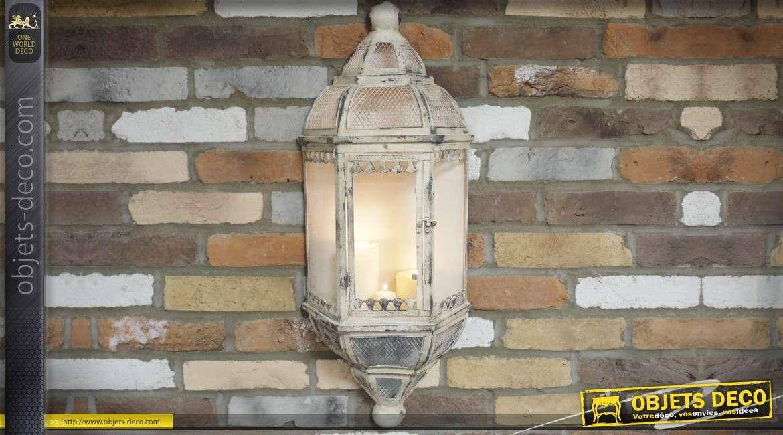 Lanterne applique murale en métal vieilli pour bougie patine crème