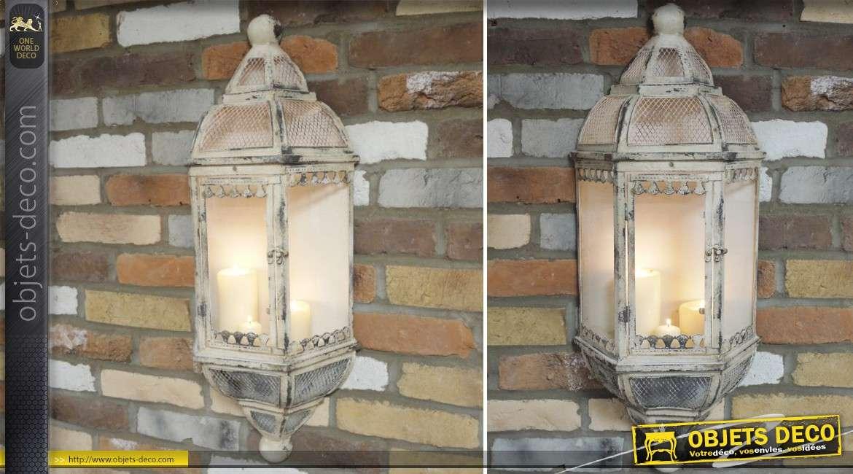 Lanterne applique murale en métal vieilli pour bougie patine crème 78 cm