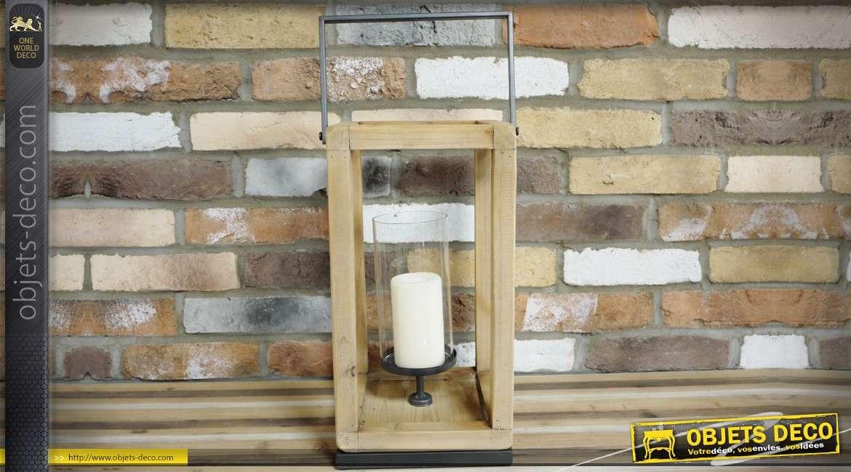 Lanterne scandinave en bois et métal avec porte-bougie 56 cm