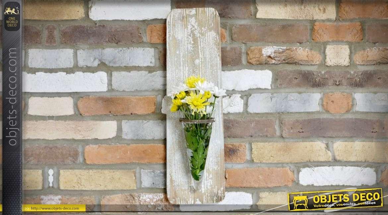 Vase mural en forme d applique décorative en bois et verre cm