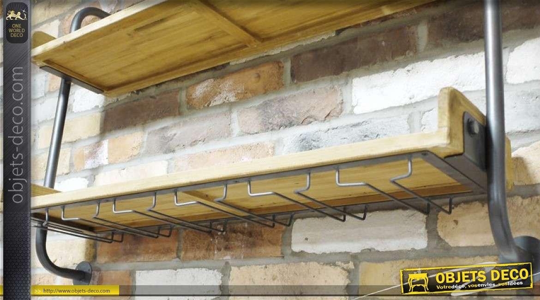 Etagère murale en bois et métal à deux tablettes de style industriel 98 cm