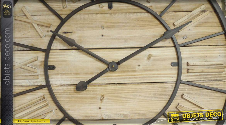 Très grande horloge murale de style industriel bois et métal Ø 90 cm