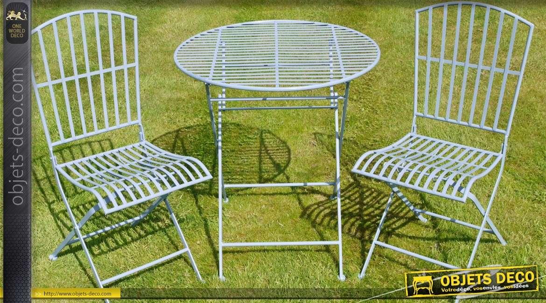 Salon de jardin en métal et fer forgé 2 places coloris bleu clair ...