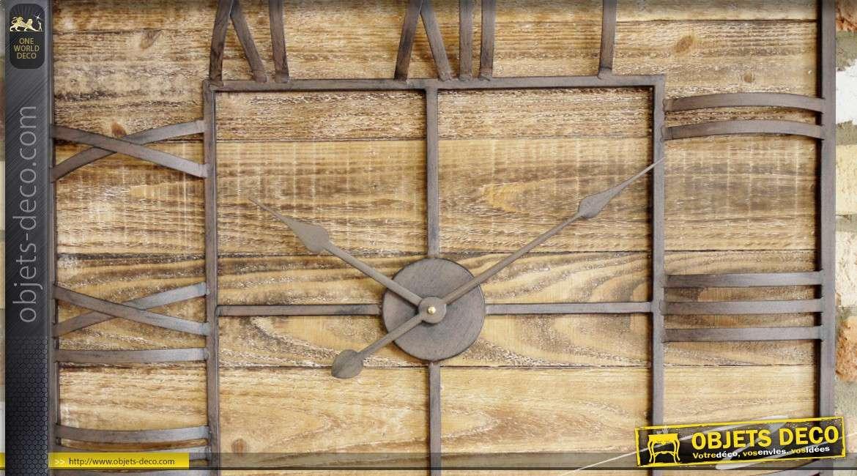 Grande horloge murale carrée en bois et métal de style rétro et indus 70 x 70 cm