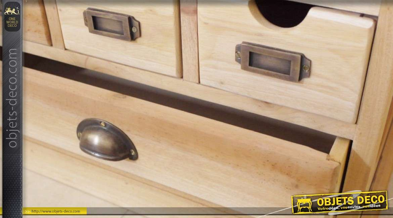 Petit meuble industriel à tiroirs finition bois naturel 60 x 50 cm