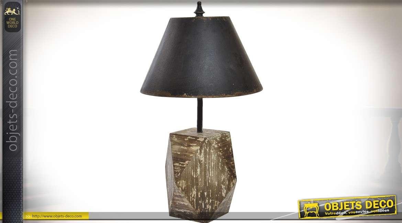 Lampe Salon Métal Rustique De Bois 74 Cm Vieilli Rétro En Et Noir Aq3jL5R4