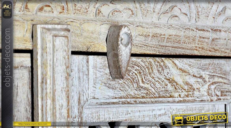 Armoire en manguier de style indien patine blanchie 2 portes 189 cm