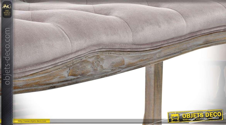 Banquette bout de lit inspiration Louis XV en hévéa et tissu vieux rose capitonné