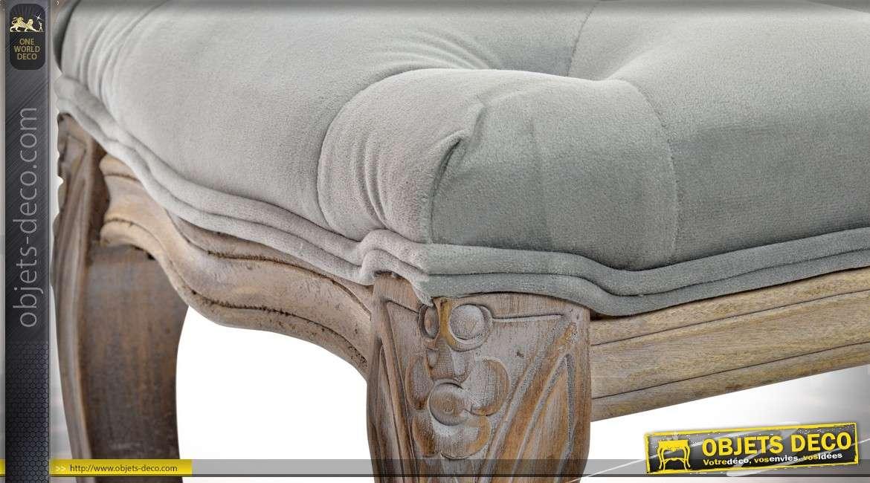 Banquette bout de lit inspiration Louis XV en hévéa et tissu gris clair capitonné