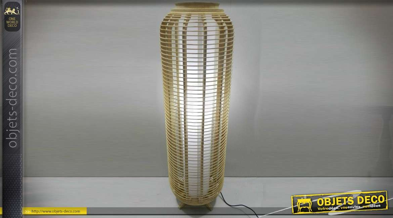 Lampadaire en bambou naturel en colonne à ailettes lumière diffuse 99 cm
