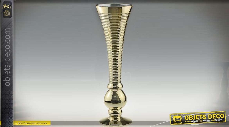 Haut vase flute en verre avec habillage finition or 43 cm