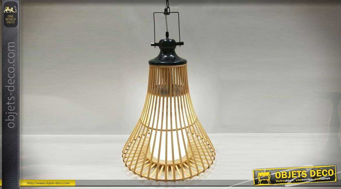 Grande suspension en bambou naturel de style indus et scandinave 67 cm