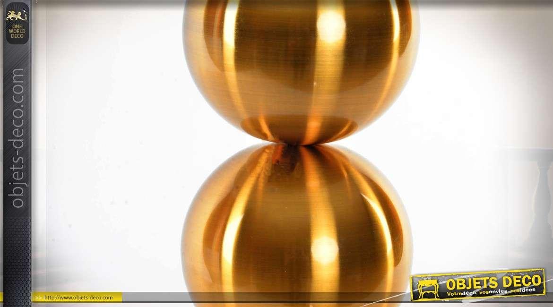 Lampe design pied en sphères dorées et abat-jour cylindrique blanc 73,5 cm