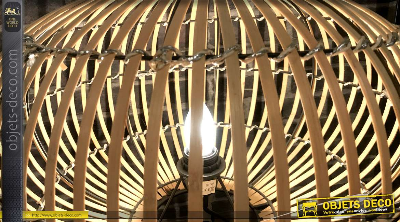 Lampadaire sur trépied en forme de cage en bambou style rétro 89,5 cm