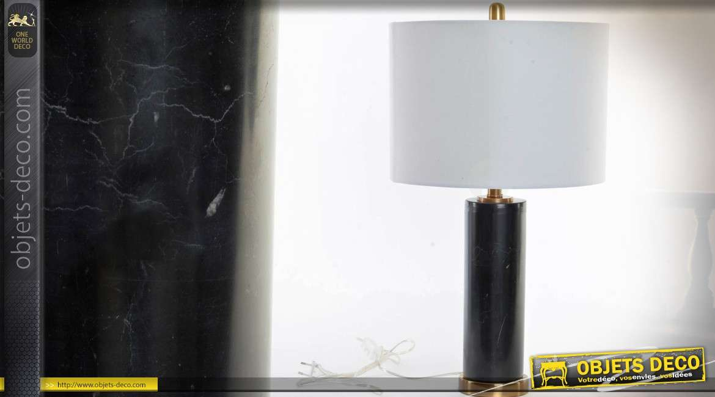 Lampe De Salon Luxueuse En Marbre Noir Et Laiton Dore 61 Cm