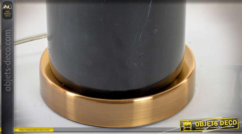 Lampe de salon luxueuse en marbre noir et laiton doré 61 cm