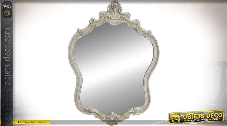 Miroir romantique et baroque imitation marbre gris clair et doré 69 cm