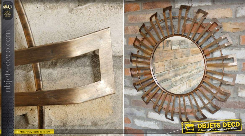 Miroir rond design en métal doré cuivré Ø 75 cm