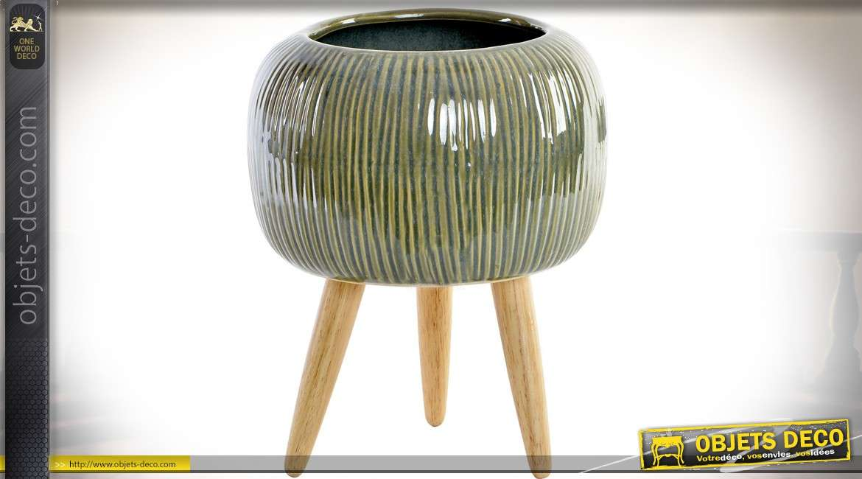 Jardini re ronde pot en gr s rayures sur pieds en bois naturel 29 cm - Jardiniere en bois sur pied ...