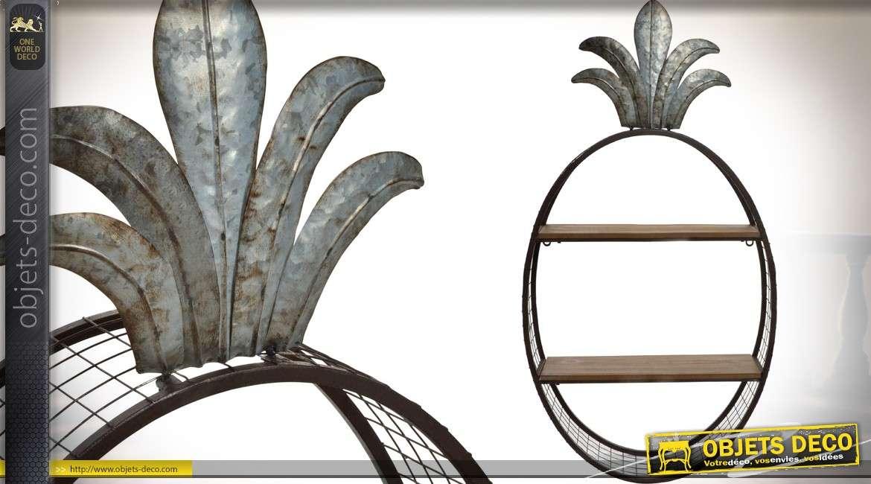 Etagère murale ovale en bois et métal finition vieilli et oxydée 87 cm 9ff083bae2c9