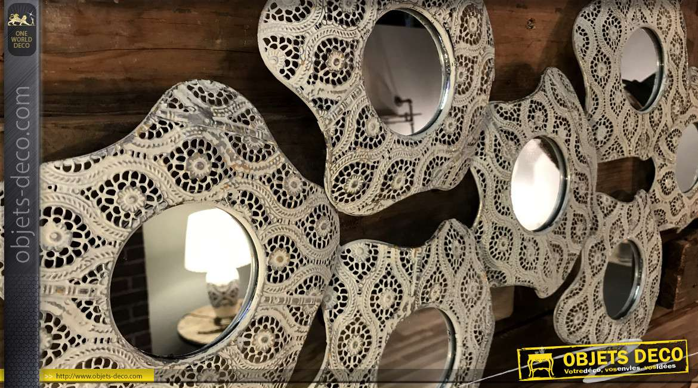 Décoration murale métal fleurs avec miroirs stylisées crème clair 87 cm