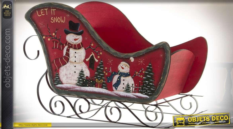 Grand traineau décoratif de Noël rouge en bois et métal 73 cm