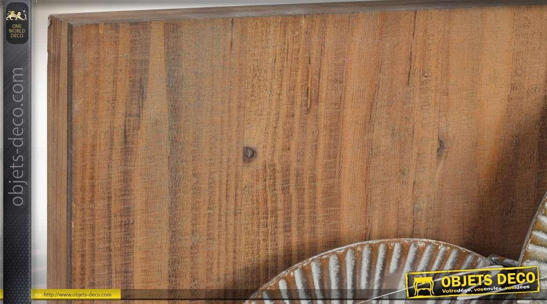 Diptyque en bois et métal tableau abstrait d'éléments circulaires en relief 105 cm