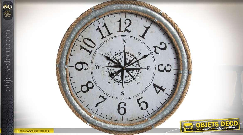 Horloge en métal, zinc et cordage avec cadran en rose des vents Ø 60 cm