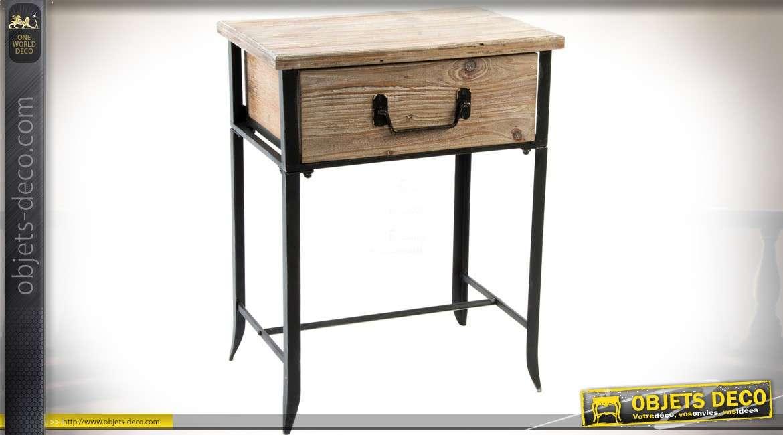 table de chevet rustique en bois brut et m tal noir avec un tiroir 61 cm. Black Bedroom Furniture Sets. Home Design Ideas