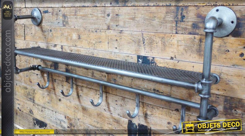 Etagère murale tuyauterie industrielle gris argent vieilli 5 crochets 100 cm