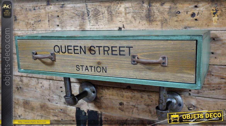 Etagère industrielle bois et métal avec tiroir et marquage UK 48 cm