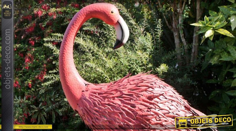 Flamand rose géant d'ornementation en métal et fer forgé 147 cm