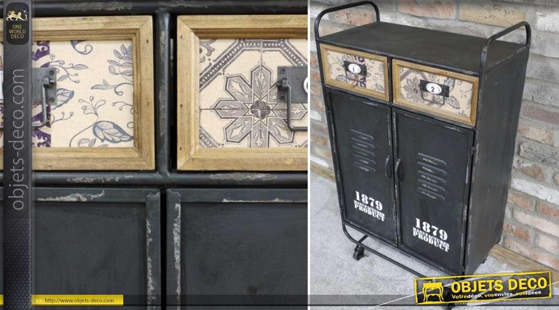 Armoire industrielle à 2 portes et 2 tiroirs style rétro en bois et métal