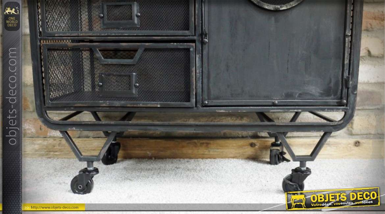 Commode façon ancien meuble d'atelier de récupération en métal vieilli