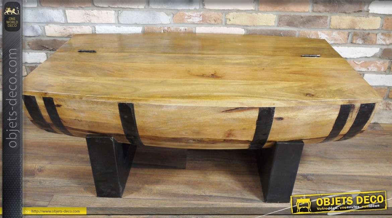 Table Acacia Massif Tonneau Coffre Forme Demi Métal Avec En Et Basse Okn0Pw8