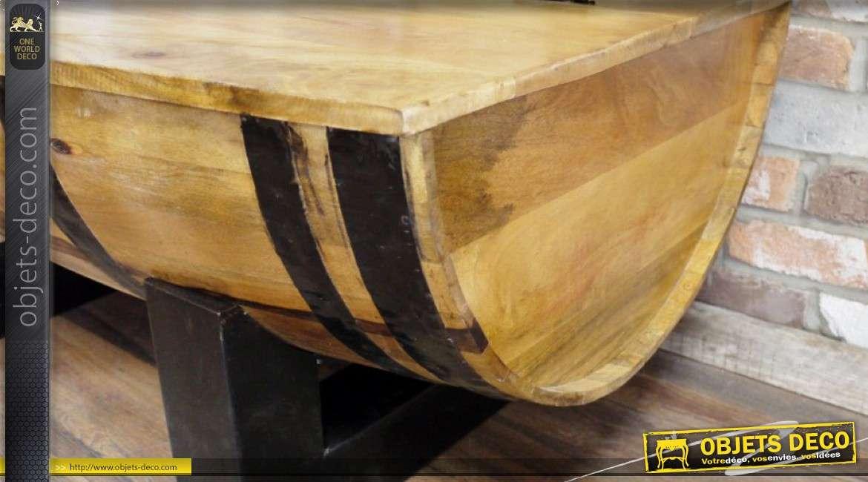 Table Basse En Acacia Massif Et Metal Forme Demi Tonneau Avec Coffre