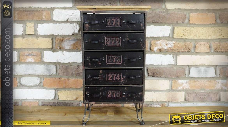 Meuble d'appoint à 5 tiroirs de style rétro et industriel bois et métal
