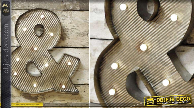 Sigle esperluette en métal style rétro avec éclairage LED 45 cm