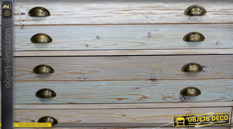 Commode de style rétro et indus à 4 tiroirs patines claires