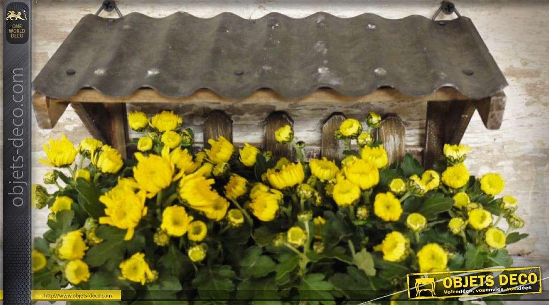 Jardinière murale en bois de style rétro avec mini-auvent 40 cm
