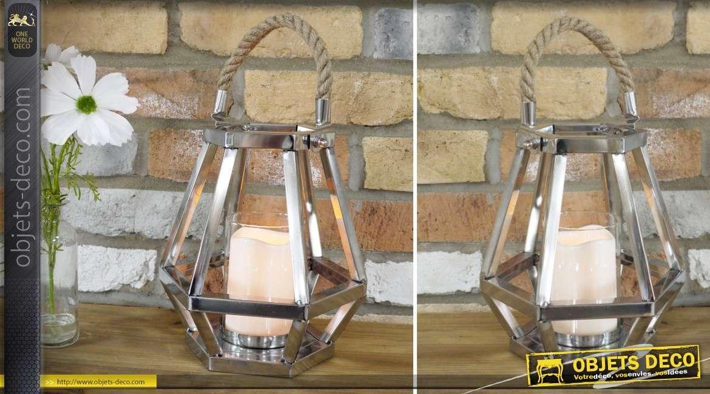 Lanterne hexagonale porte-bougie en inox argenté avec anse en cordage 25 cm