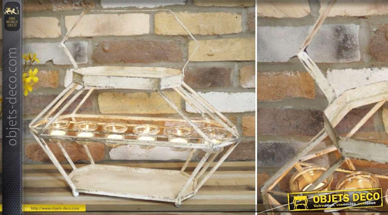 Support porte bougies en m tal de style r tro patine blanche 6 points lumineux 50 cm - Blanche porte suivi de colis ...