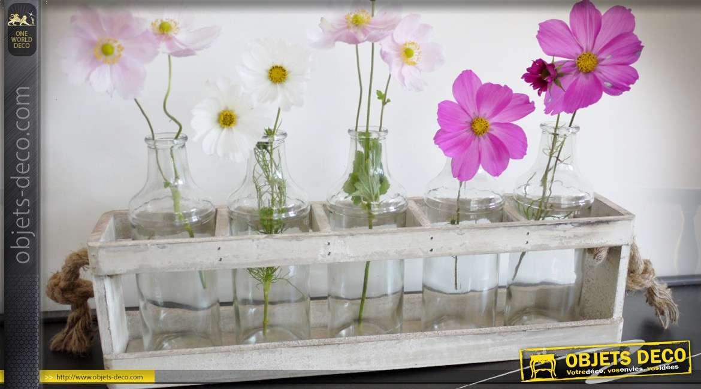 Série de 5 vases bouteilles avec caisse en bois et cordage 44 cm