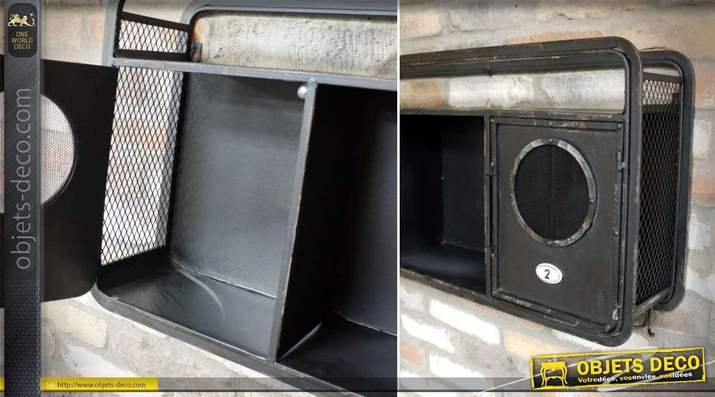 Etagère murale en métal noir style indus avec 2 portes à hublots 88 cm