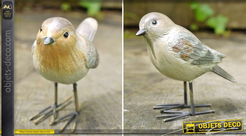 Série de 4 oiseaux décoratifs en métal (4 màdèles différents) 10 cm