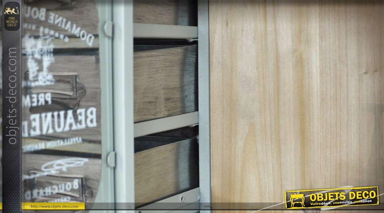 etag re murale avec 6 tiroirs et une porte vitr e style. Black Bedroom Furniture Sets. Home Design Ideas