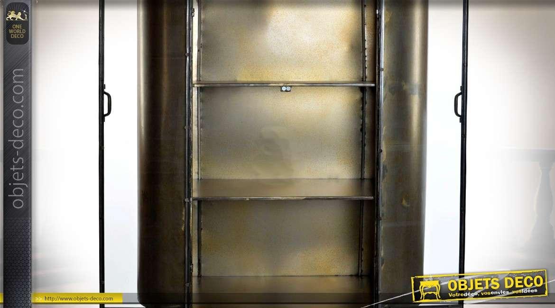 Vitrine de style industriel et rétro en métal finition teinte bronze dorée 172 cm