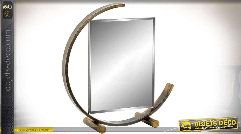 Miroir de table rétro et design métal argenté et bronze doré vieilli 31 cm