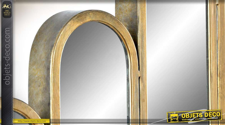 Miroir design métal doré vieilli effet graphique multimiroirs en relief 90 cm