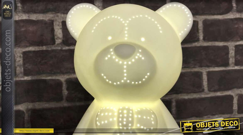 Lampe blanche éclairage LED en forme d'ourson pour chambre d'enfant